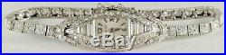 Antique Art Deco Hamilton. 4ctw Diamond Platinum Watch Bracelet