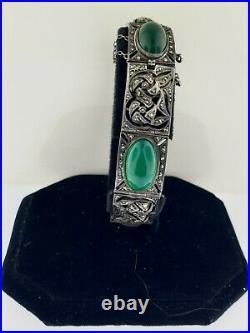 Antique Art Deco Marcasite+chrysoprase Cushion Cut Sterling Bracelet 7 France