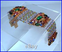 Antique Art Deco Nouveau Czech Bohemian Beaded w Filigree & Rhinestones Bracelet