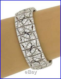 Antique Art Deco Platinum 12.7ctw Diamond & Sapphire Wide Fancy Link Bracelet
