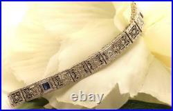 Antique Art Deco Platinum 14K Gold Diamond Sapphire Filigree Bracelet
