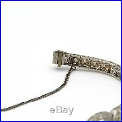 Antique Art Deco Platinum 2.8 Ctw Diamond And Emerald Accent Bracelet #e-141