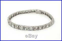 Antique Art Deco Platinum 4ctw Old Mine Cut Diamond Ladies Tennis Bracelet 1920s