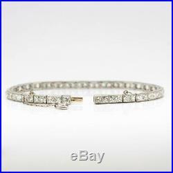 Antique Art Deco Platinum French Cut Diamond Line Bracelet