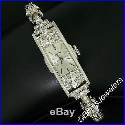 Antique Art Deco Platinum Glycine 1.21ctw Diamond Ladies Long Dinner Wrist Watch