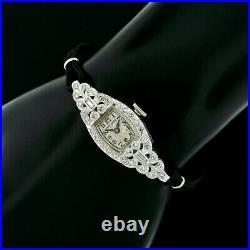 Antique Art Deco Platinum Ladies' Hamilton 17j 0.76ctw Diamond Wrist Watch 911