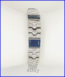 Antique Art Deco Platinum Sapphire Diamond Bracelet