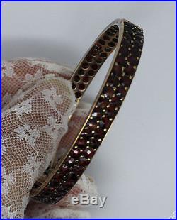 Antique Art Deco Rose Cut Bohemian Garnet Hinged Bracelet Bangle Czechoslovakia