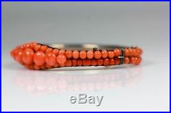 Antique Art Deco Silver And Coral Clasp Bracelet Silver Makers Stamp Ww Wm
