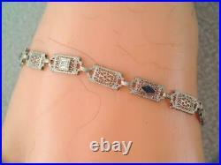Antique Art Deco Solid 10k White Gold Diamond & Blue Sapphire Filigree Bracelet