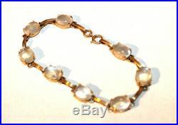 Antique Art Deco Solid 14K Yellow Gold Moon Stone Bracelet 7.5