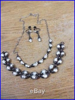 Antique Art Deco Sterling, River Pearl & Marcasite Necklace, Bracelet, Earrings