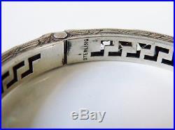 Antique Art Deco Sterling Silver Black Paste Rhinestone Channel Bangle Bracelet
