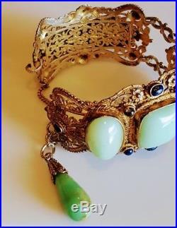 Antique Art Deco Sterling Silver Chinese Lite Green Jade & Lapis Lotus Bracelet