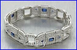 Antique Art Deco Style 18k White Gold 2.50ct Sapphire 4.05ct Diamond Bracelet