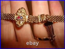 Antique Art Deco Unique Tassel Slide Sapphire Rubies Diamonds Bracelet 14k Gold