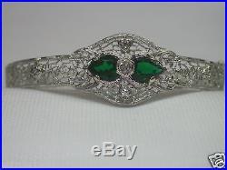 Antique Art Deco Vintage Estate Diamond Filigree Bracelet 14K White Gold Fits 7
