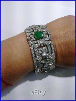 Antique Art Deco Vintage Platinum Diamond Emerald bracelet 42.85cts