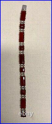 Antique Art Deco Wachenheimer Sterling Silver Carnelian Bracelet