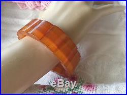 Antique Art Deco vintage Amber Lucite lozenge bead stretch bracelet bangle