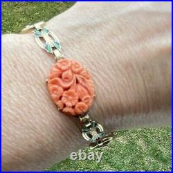 Antique Art Nouveau Deco Carved Red Coral Enamel 14k Gold Bracelet