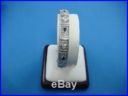 Antique Art-deco 14k White Gold Diamonds & Sapphires Filigree Bracelet 6.25 Inch