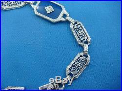 Antique Art-deco Platinum And 14k White Gold Filigree Bracelet, 6 Inches Long