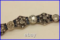 Antique Artdeco 14k Gold Diamond And Sapphire Decorated Pretty Bracelet