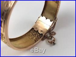 Antique Chinese Art Deco 18k Gold 4 Flower Panels 4 Kanji Hinged Bangle Bracelet