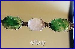 Antique Chinese export Art Deco Emerald Green Jade Rose Quartz Silver Bracelet