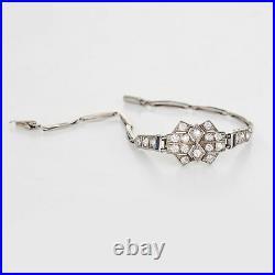Antique Deco Diamond Sapphire Bracelet Platinum 18k Gold Vintage Fine Jewelry