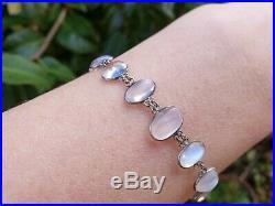 Antique Edwardian Art Deco Sterling Silver Moonstone Bracelet Jewellery