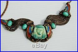 Antique Egyptian Revival Art Deco Neiger Bracelet Necklace Austrian Bronze Czech