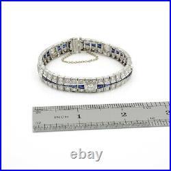 Antique Estate Art Deco Platinum Diamond & Blue Sapphire Link Bracelet #e1163-1