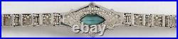 Antique Filigree Box Link Bracelet with Blue Topaz 14K WHITE GOLD Art Deco