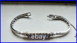 Antique Platinum 4.40ctw Vs/g Diamond Sapphire Art Deco Bracelet 7