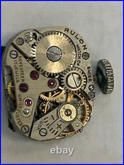 Antique Platinum Art Deco platinum & diamond Rulon Watch co 14k gold bracelet