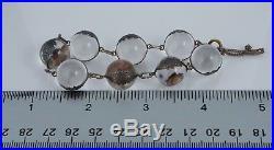 Antique Pools of Light Sterling Rock Crystal Quartz Bracelet 14mm 7.5 Art Deco