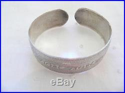 Antique Solid Sterling Silver Art Deco Etched Vintage Cuff Bangle Bracelet