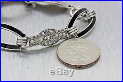 Antique Sterling Silver 1920s Art Deco Rhinestone Black Enamel Bracelet MX