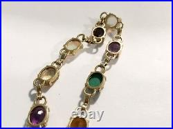 Antique Vintage Art Deco 14k Multi Stone Link Bracelet