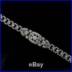 Antique Vintage Art Deco 3.57 Ct Round Cut Diamond Solid 14k White Gold Bracelet