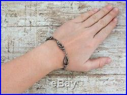 Antique Vintage Art Deco 925 Sterling Silver Interwoven Knot Link Chain Bracelet