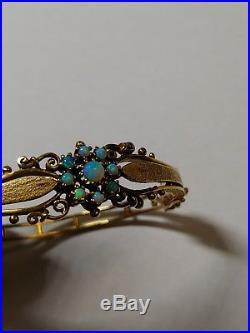 Antique Vintage Art Deco Art Nouveau 14k Yellow Gold Opal Bangle Bracelet 17g