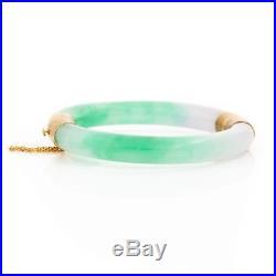 Antique Vintage Art Deco Gold Filled Chinese Jadeite Jade Hinged Bangle Bracelet