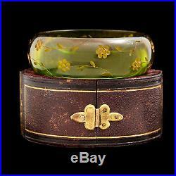 Antique Vintage Art Deco Retro Carved Tourmaline Green Bakelite Bangle Bracelet