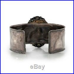 Antique Vintage Art Deco Sterling 925 Silver Brass Rococo G HUGE Cuff Bracelet