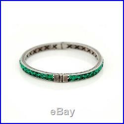 Antique Vintage Art Deco Sterling 925 Silver Emerald Rhinestone Bangle Bracelet