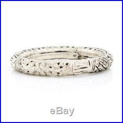 Antique Vintage Art Deco Sterling Silver Chinese Lotus Flower Rattle Bracelet