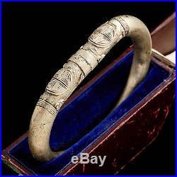 Antique Vintage Art Deco Sterling Silver Chinese Market Ethnic Bangle Bracelet